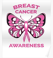 Breast Cancer Awareness Butterfly Pink Ribbon  Poster