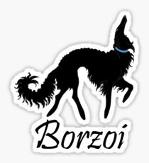 Black Borzoi Boy Sticker