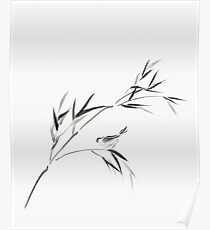 Bird on a bamboo branch Japanese Zen Sumi-e painting on white rice paper art print Poster