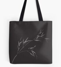 Bird on bamboo branch elegant Zen art design in modern contrast colors on black background art print Tote Bag