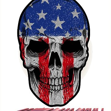 american skull face blue by mspaulista