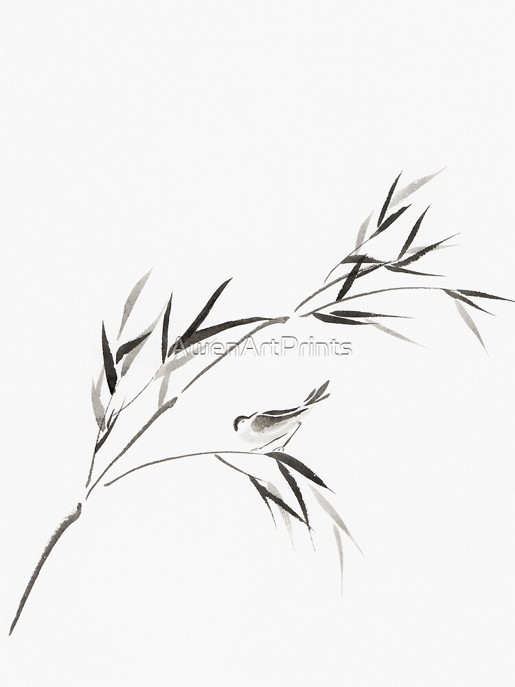 Bird on a bamboo branch Japanese Zen Sumi-e painting on white rice paper art print by AwenArtPrints