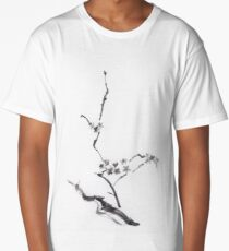 Sakura blossom artistic Japanese Zen Sumi-e painting on white rice paper art print Long T-Shirt