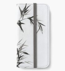 Bamboo stalk with leaves Sumi-e rice paper Zen painting artwork art print iPhone Wallet/Case/Skin