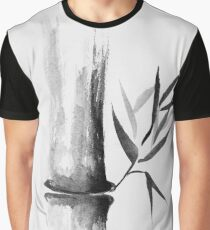 Bamboo stalk Sumi-e Oriental Zen painting illustration art print Graphic T-Shirt