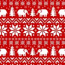 Cute Elephants Christmas Sweater Pattern by Jenn Inashvili
