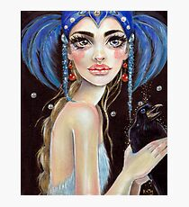Lenore & the Three Eyed Raven, Original art, PopSurrealism Photographic Print