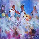 Four Flamenco Dancers Painting - Dance Art Gallery by Ballet Dance-Artist