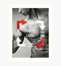 Healthy Living - Fitness Inspirational Infographic Art Print