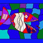 Deadly Designed Piranha Fish - by Alex by Crayons Markers and Paint
