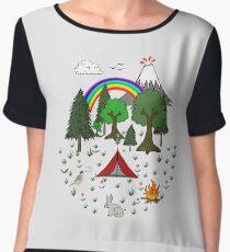 Cartoon Camping Scene Chiffon Top