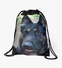 German Shepherd Face Drawstring Bag