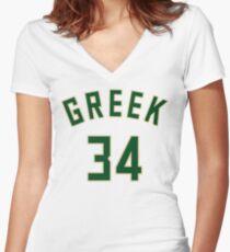 Greek Jersey Script 1 Women's Fitted V-Neck T-Shirt