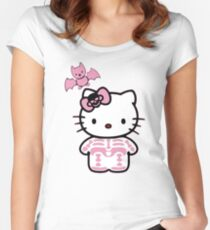 Hello Kitty Halloween Breast Cancer Awareness  Women's Fitted Scoop T-Shirt