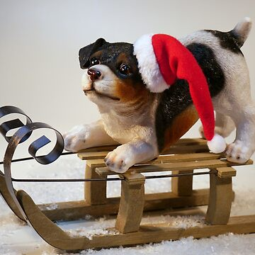 Christmas Dog on Sled by EdmondHoggeJr