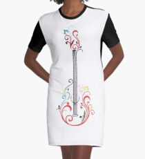 flower guitar illustration  Graphic T-Shirt Dress