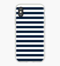 Navy Blue And White Nautical Horizontal Stripes Pattern iPhone Case