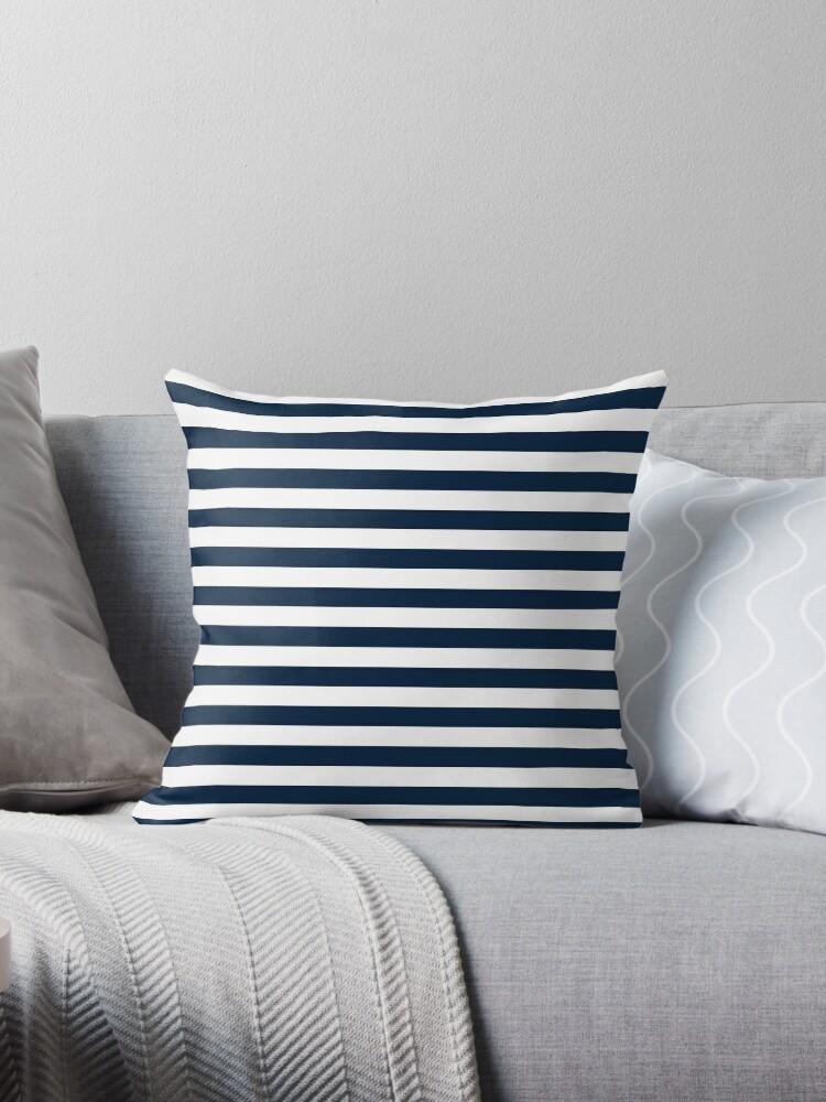 Navy Blue And White Nautical Horizontal Stripes Pattern by TDSwhite