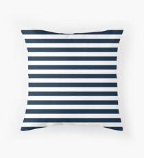Navy Blue And White Nautical Horizontal Stripes Pattern Throw Pillow
