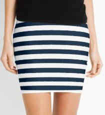 Navy Blue And White Nautical Horizontal Stripes Pattern Mini Skirt
