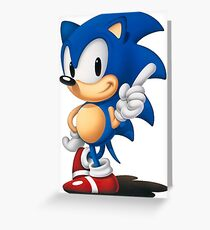 The Classic Blue Hedgehog (white background) Greeting Card