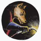 Wolf Welder Welding Woodcut by patrimonio