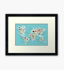 Cartoon animal world map for children Framed Print