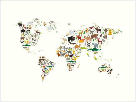Cartoon animal world map on white background art prints by cartoon animal world map on white background by ekaterinap gumiabroncs Choice Image