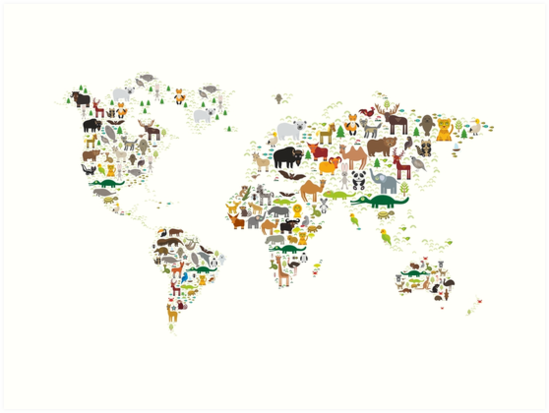 Cartoon animal world map on white background art prints by cartoon animal world map on white background by ekaterinap gumiabroncs Gallery