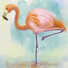 Dreamy Flamingo in Pastel - Watercolor painting by ibadishi