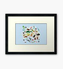 Australian animal map and ocean Framed Print
