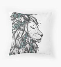 Poetic Lion Turquoise Throw Pillow