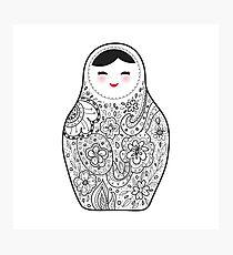 Cute doll matrioshka Babushka on black background Photographic Print