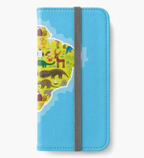 South America Animal Map Green iPhone Wallet/Case/Skin