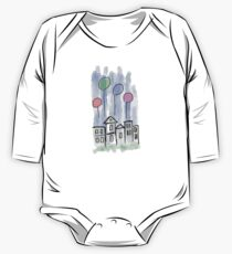 Fog Day Flying Balloon Doodle Illustration One Piece - Long Sleeve