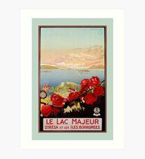 Vintage romantic Lake Maggiore Italian Travel  Art Print