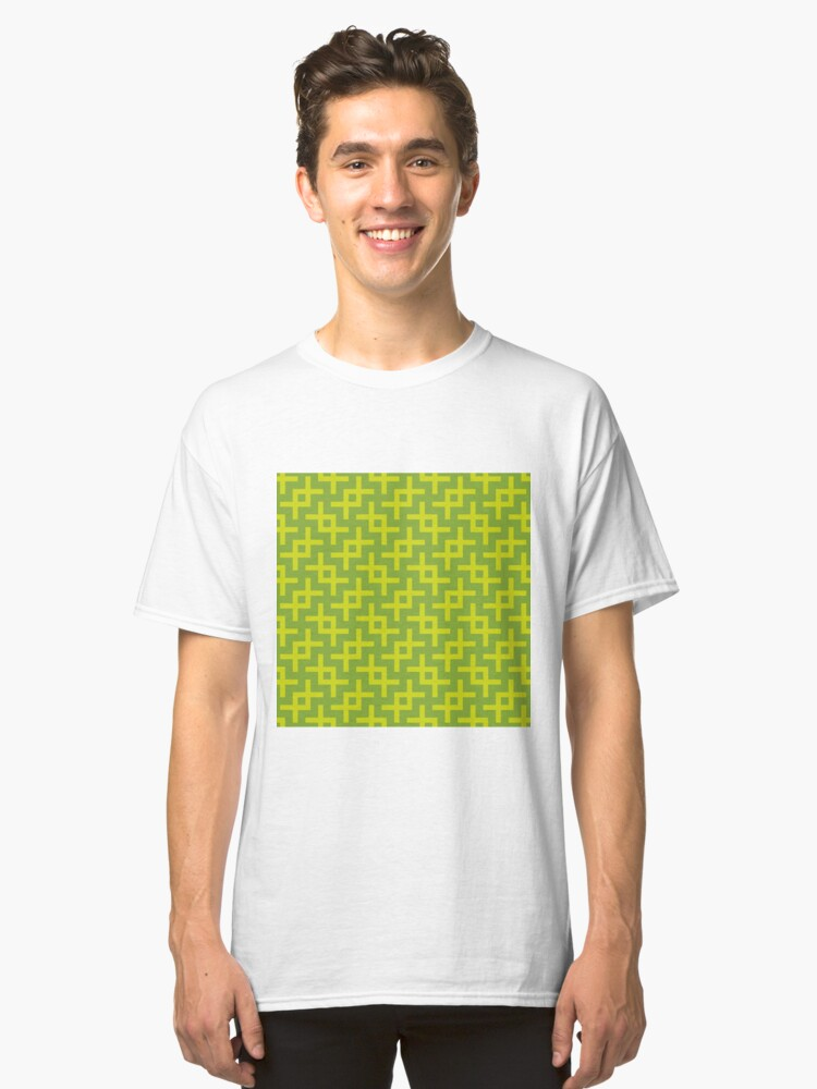Geometric Pattern: Double Angle: Green Classic T-Shirt Front