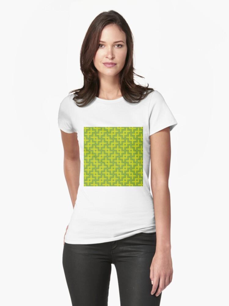 Geometric Pattern: Double Angle: Green Womens T-Shirt Front