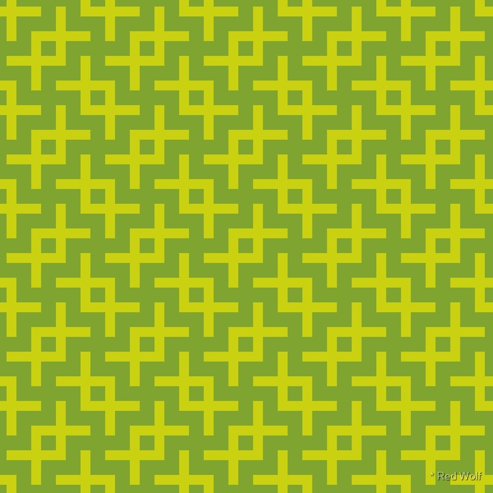 Geometric Pattern: Double Angle: Green by * Red Wolf
