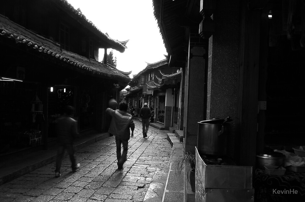 Black and White Street in LIJIANG 2 by KevinHe