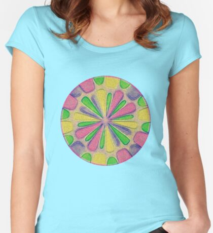 Abstract Flower Fitted Scoop T-Shirt