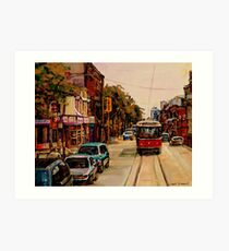 PAINTINGS OF TORONTO TORONTO ART TORONTO CITY SCENE PAINTINGS TORONTO TRAMS AND RESTAURANT PAINTINGS Art Print