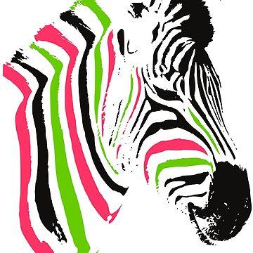 multicolored zebra head by muli84