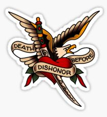 American Traditional Death Before Dishonor Design Sticker