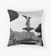 Bethesda Fountain in Black and White, New York City Throw Pillow