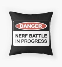 Nerf Battle in Progress Throw Pillow
