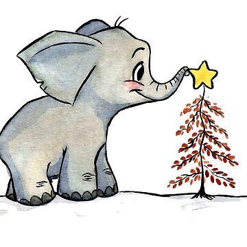 Christmas Baby Elephant by Garbancitalicia