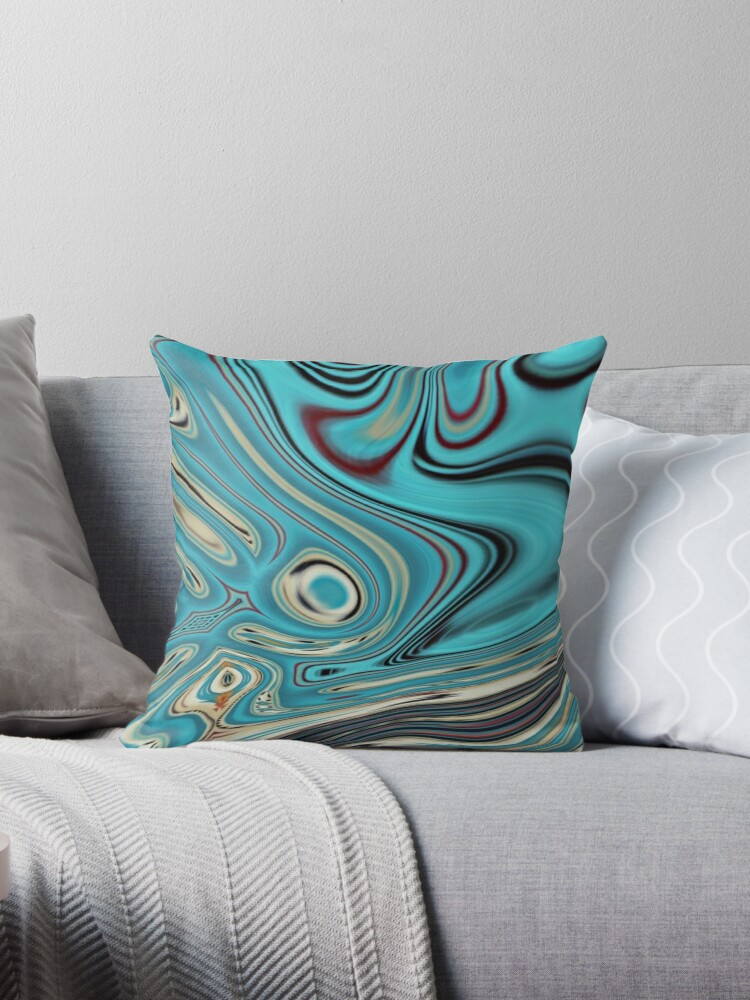 abstract beach marble pattern teal turquoise swirls by lfang77