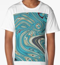 abstract beach marble pattern teal turquoise swirls Long T-Shirt