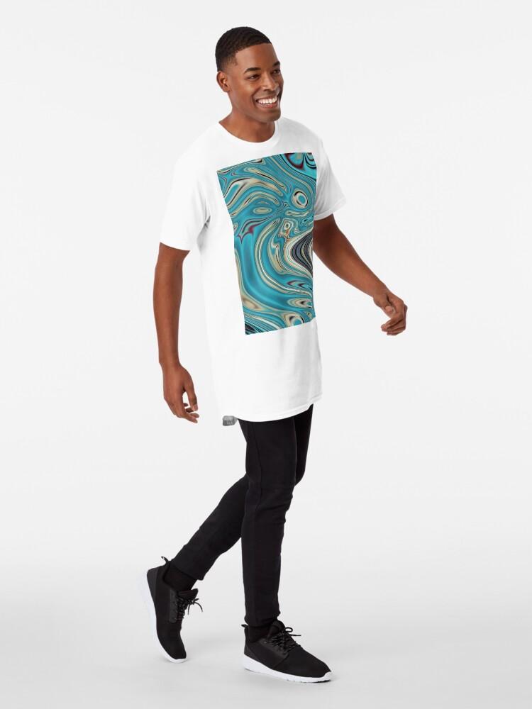 Alternative Ansicht von abstrakter Strandmarmormuster aquamariner Türkis wirbelt Longshirt